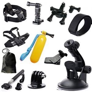 Montage-Zubehr-Set-13-in-1-fr-Gopro-Hero-433-2-Brust-Gurt-Kopf-Gurt-Teleskop-Einbeinstativ-Lenkerhalterung-Saugnapf-Tauchen-Schwimm-Einbeinstativ-Handschlaufe-360-Halterungen-Clip-0