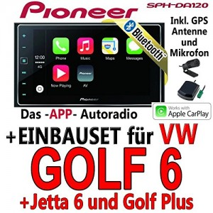 VW-Golf-6-Pioneer-SPH-DA120-2DIN-USB-Bluetooth-Apple-CarPlay-Autoradio-Einbauset-0